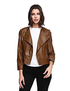 Dames Vintage Leren jacks,Uitgaan Grote matenLange mouw Bruin Effen PU