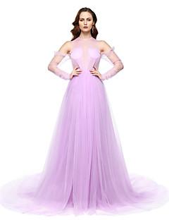 TS Couture Resmi Akşam Elbise - Furcal Ünlü Stili A-Şekilli Taşlı Yaka Yere Kadar Şifon ile Pileler