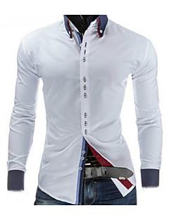 Langærmet Krave Medium Herre Blå Rød Hvid Sort Ensfarvet Forår Simpel I-byen-tøj Arbejde Skjorte,Bomuld