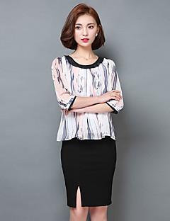 גיאומטרי צווארון עגול פשוטה ליציאה חולצה נשים,קיץ אורך שרוול ¾ לבן פוליאסטר