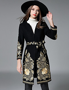 Women's Going out Casual/Daily Sophisticated Coat,Embroidered Round Neck Long Sleeve Fall Winter Black Wool Medium