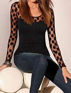 Women's Going out Sophisticated T-shirt,Polka Dot Round Neck Long Sleeve Black Others