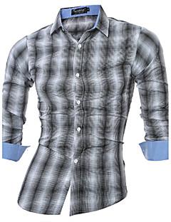 Heren Eenvoudig Actief Alle seizoenen Overhemd,Casual/Dagelijks Werk Ruitjes Opstaande boord Lange mouw Grijs Katoen Polyester Medium