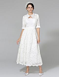 LAN TING BRIDE A-line Wedding Dress - Elegant & Luxurious Wedding Dress with Wrap Tea-length Strapless Lace with Sash / Ribbon