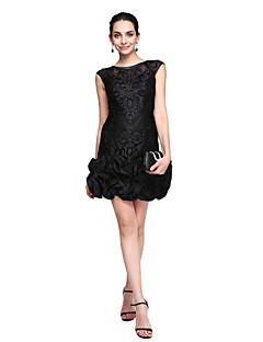 2017 ts couture® baile vestido de cóctel - poco vestido negro vaina / columna joya corto / mini de encaje con flores (s)
