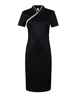 Women's Casual  Simple Skater DressSolid V Neck Midi Short Sleece Black Cotton Summer Chinoiserie Mid Rise Inelastic Medium