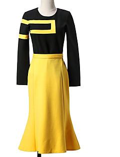 Damen Solide Anspruchsvoll Ausgehen Lässig/Alltäglich Set Rock Anzüge,Rundhalsausschnitt Frühling Langarm Schwarz Baumwolle Mittel