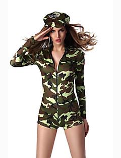 Fantasias de Cosplay Festa a Fantasia Soldado/Guerreiro Costumes carreira Cosplay de Filmes Verde Cor Única Collant/Pijama Macacão Chapéu