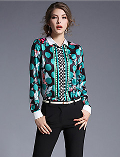 Women's Going out Sophisticated Spring Shirt,Print Square Neck Long Sleeve Green Polyester Medium