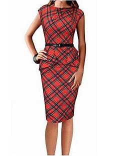 Women's Ruffle Casual/Daily Simple Skater DressSolid O Neck Midi Sleeveless Red Cotton Summer Mid Rise Inelastic Medium