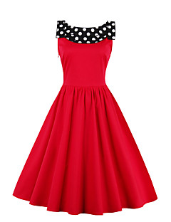 Women's Casual/Daily Vintage Sheath Dress,Polka Dot Round Neck Knee-length Sleeveless Blue Red Black Cotton Polyester Summer High Rise