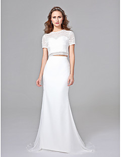 2017 Lanting Bride® Trumpet / Mermaid Wedding Dress - Chic & Modern Two-Piece Wedding Dresses Sweep / Brush Train Jewel Chiffon / Lace with