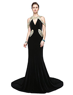 2017 TS Couture® Formal Evening Dress - Sparkle & Shine Elegant Sheath / Column V-neck Floor-length Velvet with Sequins Pleats