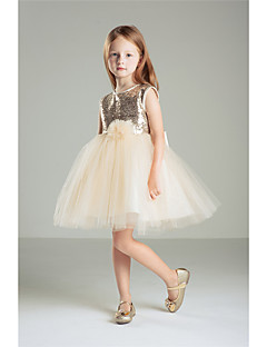 Princess Knee-length Flower Girl Dress - Cotton Sequined Sleeveless Jewel with Bow(s) Sequins