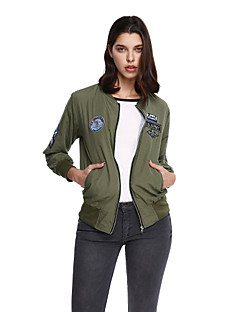 Women's Going out Casual/Daily Street chic Jackets,Letter Long Sleeve Green Cotton Polyester