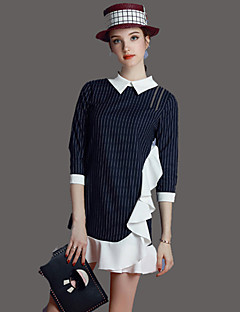UNE FLEUR  Women's Casual/Daily Simple A Line DressStriped Color Block Peter Pan Collar Above Knee  Length Sleeve Blue Polyester Summer Mid Rise