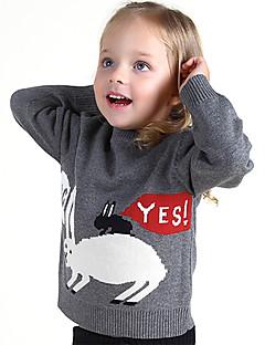 Unisex Trøje og cardigan I-byen-tøj Afslappet/Hverdag Skole Farveblok Dyremønster Broderi,Bomuld Vinter Forår Langærmet Normal