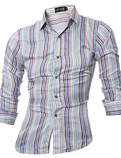 Heren Eenvoudig Actief Alle seizoenen Overhemd,Casual/Dagelijks Werk Gestreept Opstaande boord Lange mouw Meerkleurig Katoen Polyester