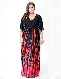 Women's Plus Size Boho Swing Dress,Print V Neck Maxi ½ Length Sleeve Black Polyester Spandex Spring Mid Rise Micro-elastic Medium