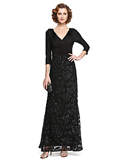 A-Line V-neck Ankle Length Lace Jersey Mother of the Bride Dress with Appliques Sequins Pleats by LAN TING BRIDE®