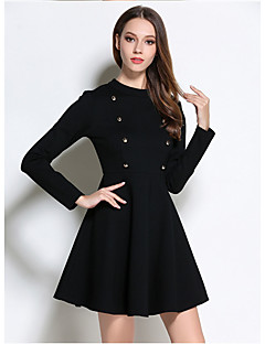 Women's Going out Simple Loose Dress,Solid Round Neck Above Knee Long Sleeve Black Cotton Spring Fall High Rise Micro-elastic Medium