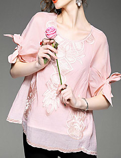 Women's Casual/Daily Vintage Summer Shirt,Geometric Round Neck ½ Length Sleeve Blue Pink White Rayon Thin