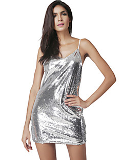 Women's Party/Cocktail Club Sexy Fashion Shift Dress Solid Backless Sequins Strap Mini Sleeveless Polyester Silver Summer Mid Rise Micro-elastic