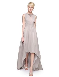 Lanting Bride® Asymmetrisch Chiffon Elegant Brautjungfernkleid - A-Linie V-Ausschnitt mit Perlstickerei Plissee