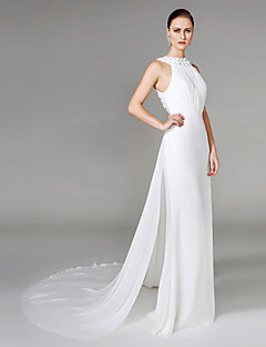 LAN TING BRIDE Sheath / Column Wedding Dress - Elegant & Luxurious Two-Piece Chapel Train High Neck Chiffon with Beading Draped Flower