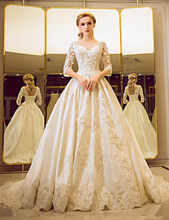 Ball Gown Wedding Dress - Classic & Timeless Elegant & Luxurious Floral Lace Court Train Bateau Tulle withBeading Lace Pearl Ruffle