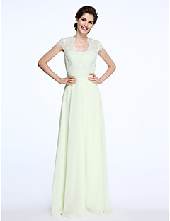 LAN TING BRIDE A-line Mother of the Bride Dress - See Through Floor-length Short Sleeve Chiffon Lace with Lace Sash / Ribbon Ruching