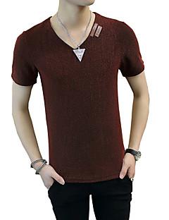 Herren Solide Retro Einfach Street Schick Lässig/Alltäglich Strand Übergröße T-shirt,V-Ausschnitt Sommer KurzarmBlau Rot Weiß Beige