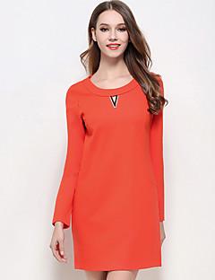 Dámské Sexy Jednoduché Velké velikosti Jdeme ven Dovolená Shift Pouzdro Šaty Jednobarevné,Dlouhý rukáv Kulatý Nad kolena Černá Oranžová