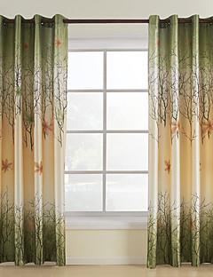 zwei Panele Window Treatment Rustikal , Blatt Wohnzimmer Polyester Stoff Vorhänge drapiert Haus Dekoration For Fenster