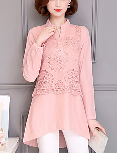 Women's Plus Size Going out Street chic Spring /Fall Fashion Loose Shirt Lace Patchwork V Neck Long Sleeve Pink /Gray Cotton /Linen Medium