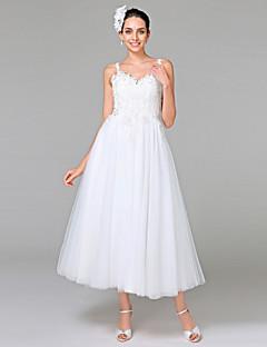 Lanting Bride® Trapèze Robe de Mariage  - Chic & Moderne Dos ouvert Longueur Cheville Bretelles Tulle avec Appliques