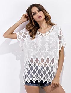 Feminino Camiseta Praia Moda de Rua Verão,Jacquard Branco Poliéster Decote Redondo Manga Longa Média