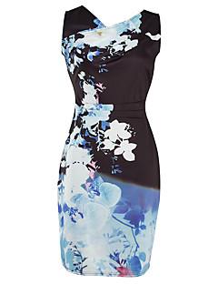 Damen Bodycon Kleid-Lässig/Alltäglich Arbeit Sexy Retro Druck V-Ausschnitt Übers Knie Ärmellos Blau Polyester Frühling SommerMittlere