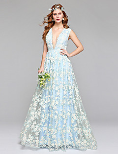 LAN TING BRIDE A-line Wedding Dress Wedding Dress in Color Floor-length V-neck Lace Tulle with Lace