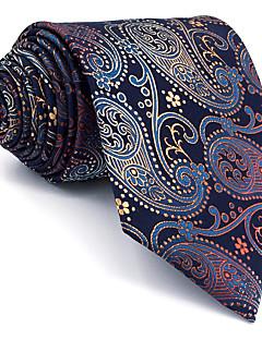 Для мужчин Винтаж Очаровательный Для вечеринки Для офиса На каждый день Галстук,Искусственный шёлк Узор пейсли (огурцы),Синий Все сезоны