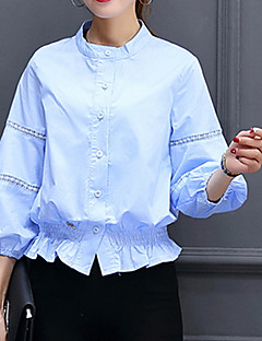 Women's Going out Formal Work Sexy Street chic Sophisticated Spring Summer Shirt,Solid Stand Long Sleeve Multi-color Others Medium
