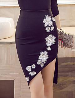 Damen Übergrössen Röcke,Bodycon Blumen Bestickt Perlenbesetzt,Arbeit Sexy Street Schick Hohe Hüfthöhe Asymmetrisch ElastizitätKunstseide