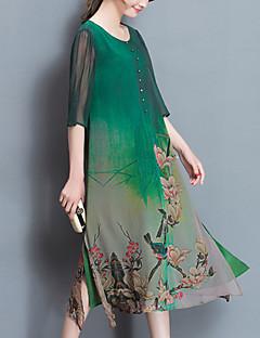 Dámské Šik ven Čínské vzory Běžné/Denní Velké velikosti Swing Šaty Tisk,Tříčtvrteční rukáv Kulatý Midi Zelená Polyester Jaro Léto Mid Rise