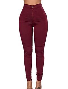Dames Skinny Grote maten Jeans Broek,Effen Casual/Dagelijks Eenvoudig Hoge taille Rits Katoen Micro-elastisch Veer