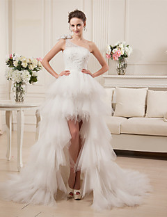 A-line Wedding Dress Two-Piece Asymmetrical One Shoulder Satin Tulle with Beading Tiered
