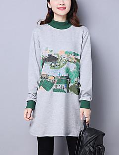Dames Street chic Casual/Dagelijks Sweatshirt Print Oversized Coltrui Rekbaar Katoen Lange mouw Lente Herfst