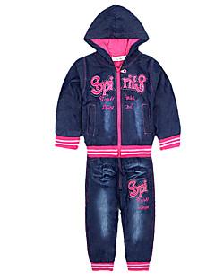 Kız Çocuk Dışarı Çıkma Günlük/Sade Sporlar Pamuklu Polyester Solid Desen Tüm Mevsimler Uzun Kol Setler Kıyafet Seti