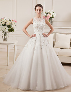 A-line Bateau Court Train Satin Tulle Wedding Dress with Beading Lace