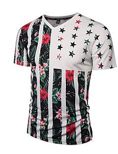 Kortærmet V-hals Tynd Herre Flerfarvet Trykt mønster Forår Sommer Boheme Gade Punk & Gotisk I-byen-tøj Afslappet/Hverdag Ferie T-shirt,