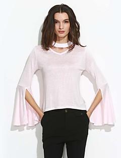 Feminino Camiseta Casual Simples Outono / Inverno,Sólido Rosa Algodão Decote Redondo Manga Longa Média